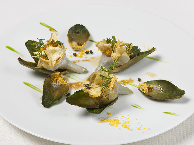 Chef Fréchon's artichokes from Provence are an Epicure speciality. Think anchovies sauce with black truffle, egg powder and artichoke crisps with hazelnuts.