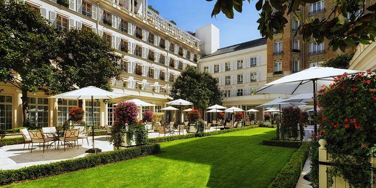 The courtyard garden at Le Bristol Paris
